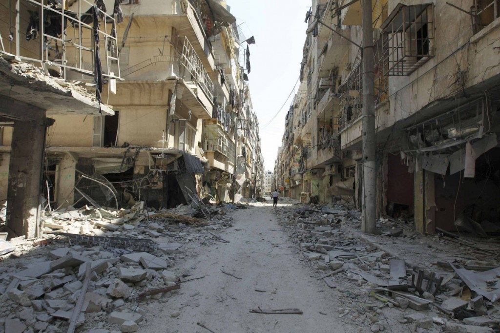 A general view shows a street after clashes between Free Syrian Army fighters and forces loyal to Syria's President Bashar Al-Assad, in Salah Edinne district